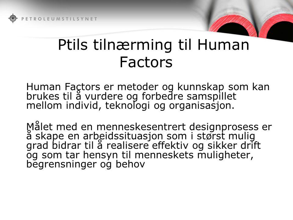 Ptils tilnærming til Human Factors Human Factors er metoder og kunnskap som kan brukes til å vurdere og forbedre samspillet mellom individ, teknologi