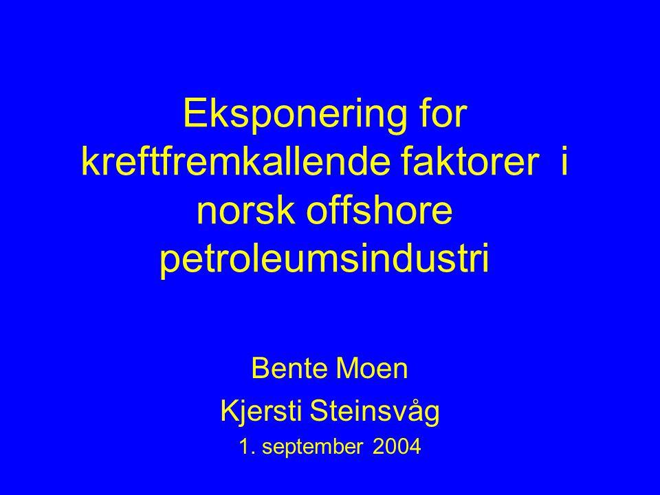 Eksponering for kreftfremkallende faktorer i norsk offshore petroleumsindustri Bente Moen Kjersti Steinsvåg 1.