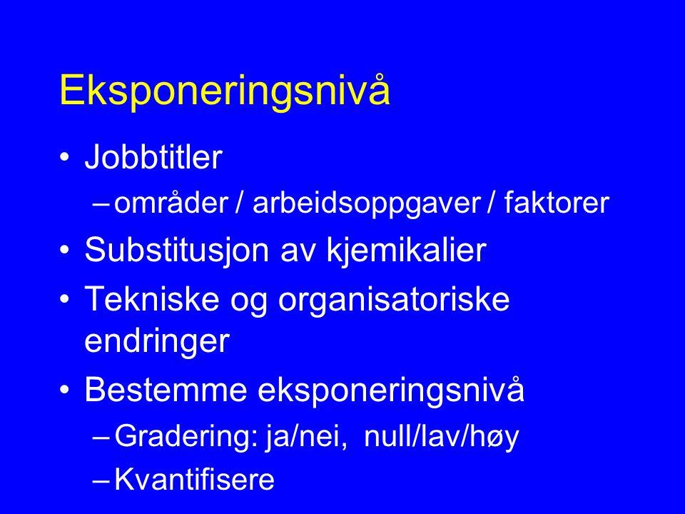 Eksponeringsnivå Jobbtitler –områder / arbeidsoppgaver / faktorer Substitusjon av kjemikalier Tekniske og organisatoriske endringer Bestemme eksponeringsnivå –Gradering: ja/nei, null/lav/høy –Kvantifisere