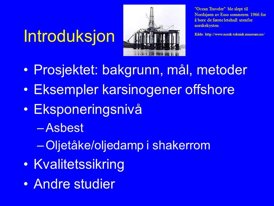 Gradere: Asbest-eksponering Helseeffekt: mesoteliom (brysthinnekreft) Latenstid: minst 15-20 år, opptil 48 år Dose/respons: ukjent Eksponering offshore –Brannhemmende bygningsmateriale –Isolasjonsmateriale –Bremsebånd –Tilsettingsstoff til borevæsker Eksponering: ja/nei (Fortid handelsflåten og tungindustri, fritid)