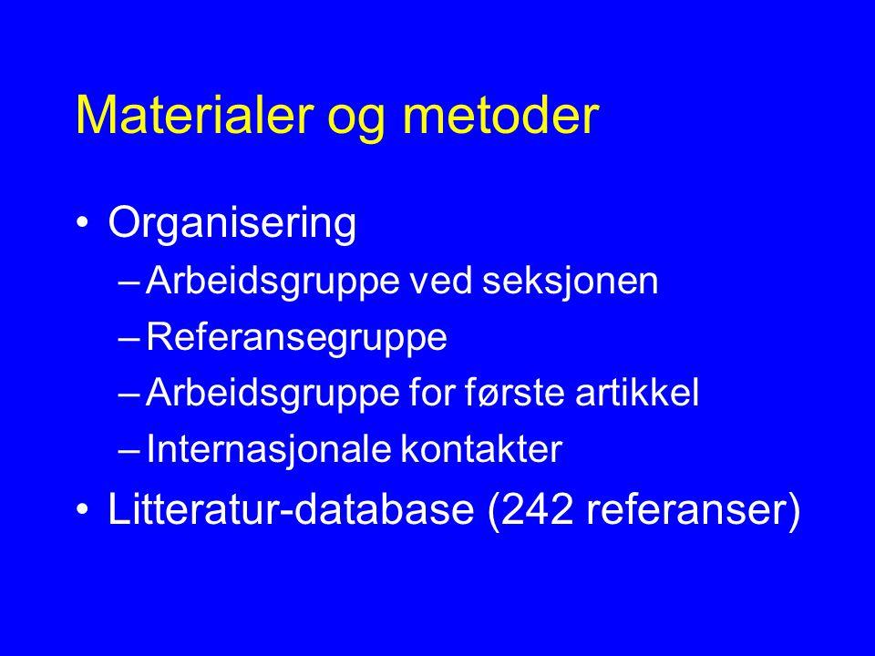 Materialer og metoder Organisering –Arbeidsgruppe ved seksjonen –Referansegruppe –Arbeidsgruppe for første artikkel –Internasjonale kontakter Litteratur-database (242 referanser)