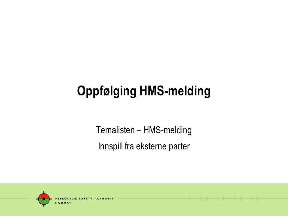 Oppfølging HMS-melding Temalisten – HMS-melding Innspill fra eksterne parter