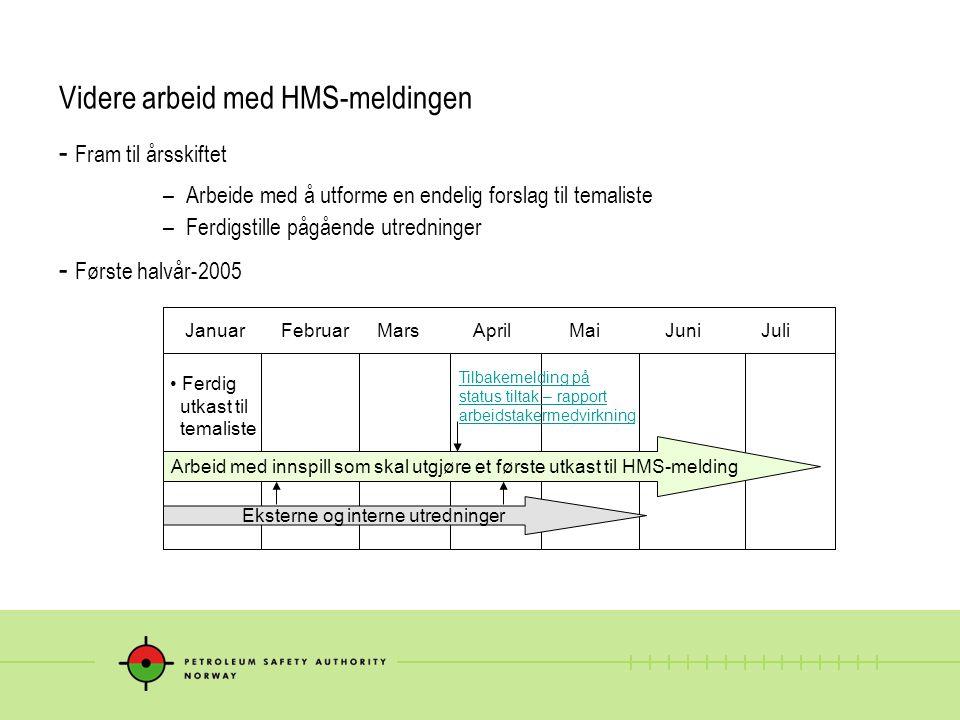 Videre arbeid med HMS-meldingen - Fram til årsskiftet – Arbeide med å utforme en endelig forslag til temaliste – Ferdigstille pågående utredninger - F
