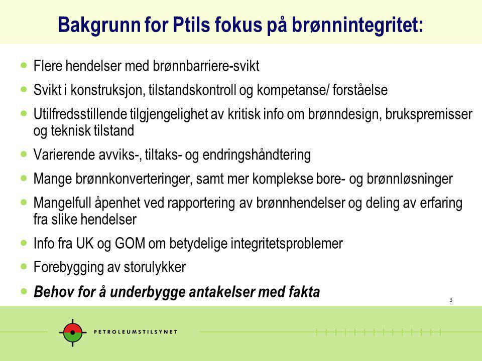 3 Bakgrunn for Ptils fokus på brønnintegritet: Flere hendelser med brønnbarriere-svikt Svikt i konstruksjon, tilstandskontroll og kompetanse/ forståel