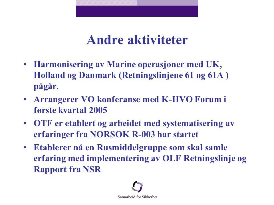 Andre aktiviteter Harmonisering av Marine operasjoner med UK, Holland og Danmark (Retningslinjene 61 og 61A ) pågår.