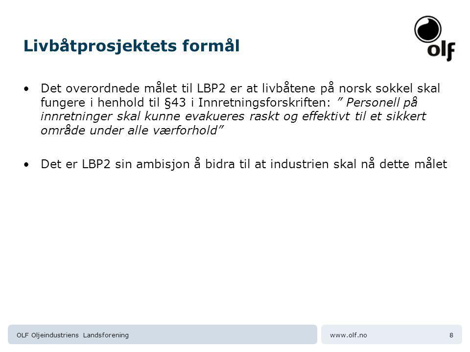 www.olf.noOLF Oljeindustriens Landsforening8 Livbåtprosjektets formål Det overordnede målet til LBP2 er at livbåtene på norsk sokkel skal fungere i henhold til §43 i Innretningsforskriften: Personell på innretninger skal kunne evakueres raskt og effektivt til et sikkert område under alle værforhold Det er LBP2 sin ambisjon å bidra til at industrien skal nå dette målet