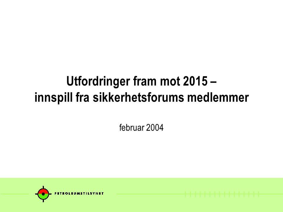 Utfordringer fram mot 2015 – innspill fra sikkerhetsforums medlemmer februar 2004