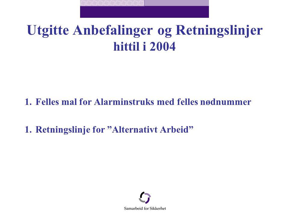 Utgitte Anbefalinger og Retningslinjer hittil i 2004 1.Felles mal for Alarminstruks med felles nødnummer 1.Retningslinje for Alternativt Arbeid