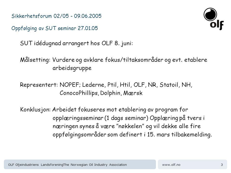 www.olf.noOLF Oljeindustriens LandsforeningThe Norwegian Oil Industry Association3 Sikkerhetsforum 02/05 - 09.06.2005 Oppfølging av SUT seminar 27.01.