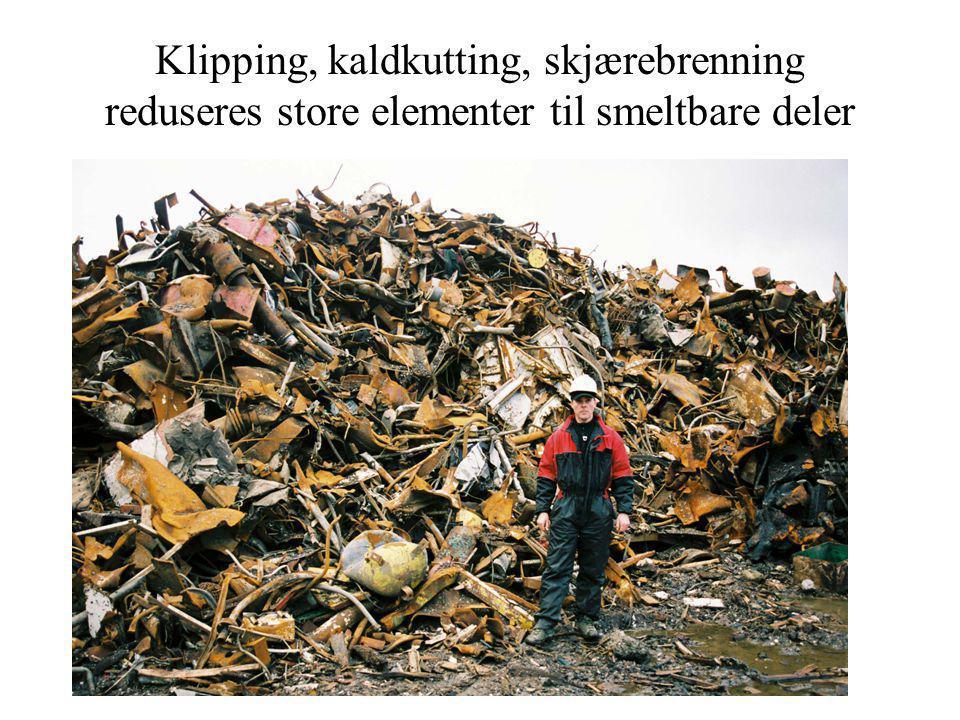Klipping, kaldkutting, skjærebrenning reduseres store elementer til smeltbare deler