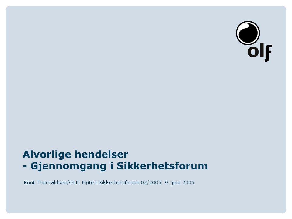 www.olf.noThe Norwegian Oil Industry Association Gjennomgang av hendelser i Sikkerhetsforum Nåværende praksis Ptil presenterer utvalg av aktuelle hendelser i Sikkerhetsforum Forslag For å sikre best mulig erfaringsutveksling/læring foreslår OLF at: 1.Den aktuelle feltoperatør gis anledning til å delta på denne delen av Sikkerhetsforum-møtene for å: Gi en presentasjon ang.