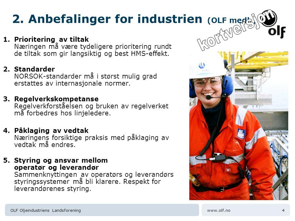 www.olf.noOLF Oljeindustriens Landsforening5 Prosessen har startet hos selskapene Selskapene svarer på Kost/nytte-rapporten, sine egne tiltak.