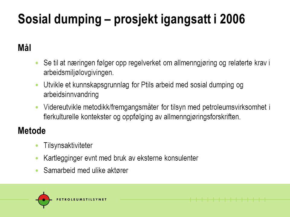 Sosial dumping – prosjekt igangsatt i 2006 Mål Se til at næringen følger opp regelverket om allmenngjøring og relaterte krav i arbeidsmiljølovgivingen.