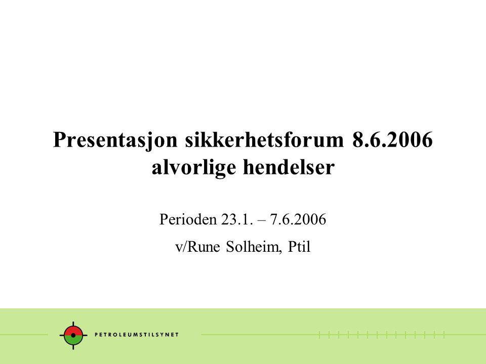 Presentasjon sikkerhetsforum 8.6.2006 alvorlige hendelser Perioden 23.1. – 7.6.2006 v/Rune Solheim, Ptil