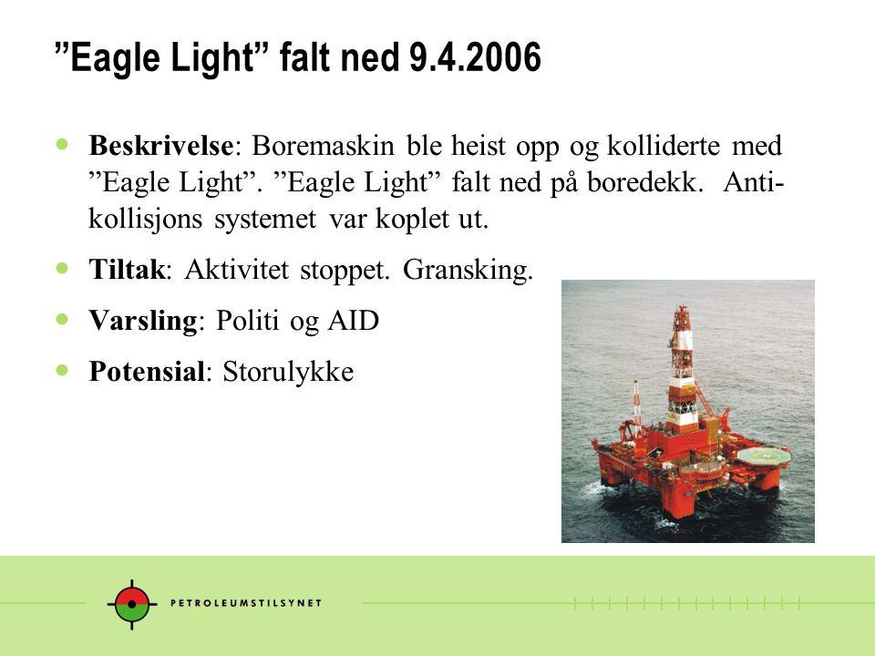 """""""Eagle Light"""" falt ned 9.4.2006 Beskrivelse: Boremaskin ble heist opp og kolliderte med """"Eagle Light"""". """"Eagle Light"""" falt ned på boredekk. Anti- kolli"""
