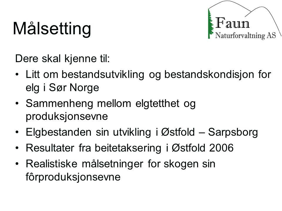 Dere skal kjenne til: Litt om bestandsutvikling og bestandskondisjon for elg i Sør Norge Sammenheng mellom elgtetthet og produksjonsevne Elgbestanden