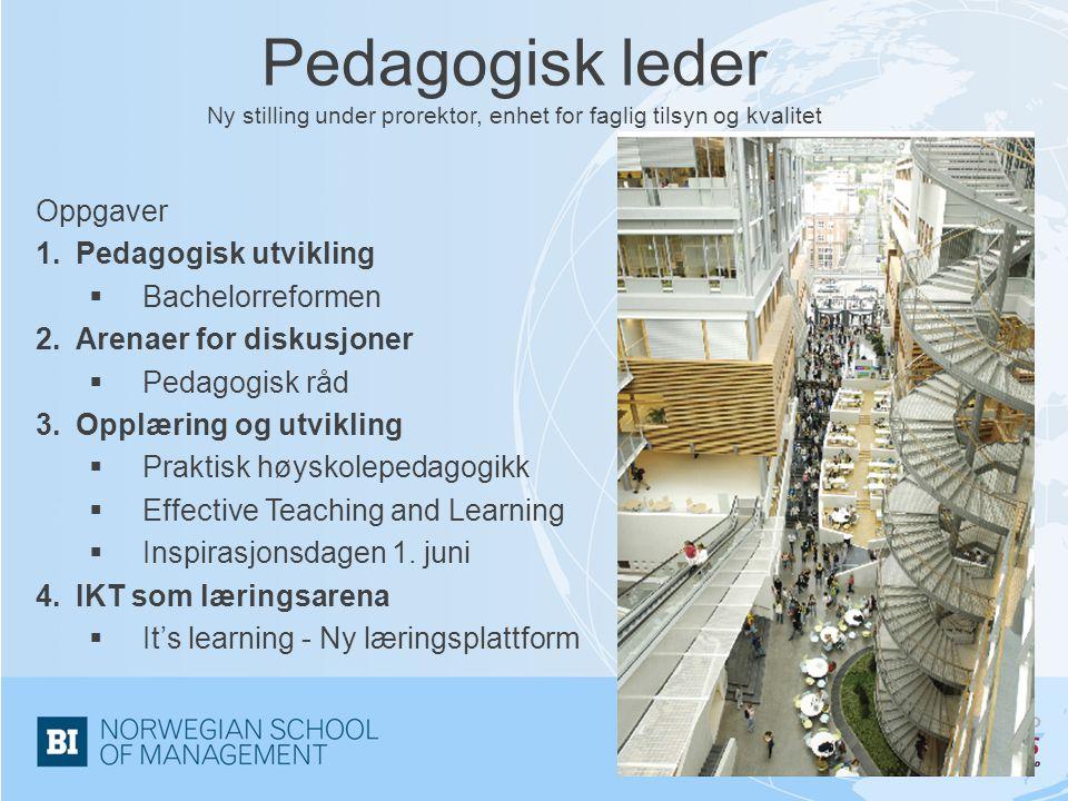 Pedagogisk leder Ny stilling under prorektor, enhet for faglig tilsyn og kvalitet Oppgaver 1.Pedagogisk utvikling  Bachelorreformen 2.Arenaer for dis