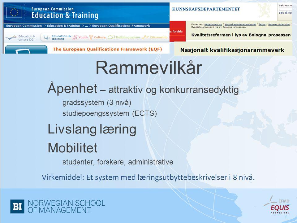Rammevilkår Åpenhet – attraktiv og konkurransedyktig gradssystem (3 nivå) studiepoengssystem (ECTS) Livslang læring Mobilitet studenter, forskere, adm