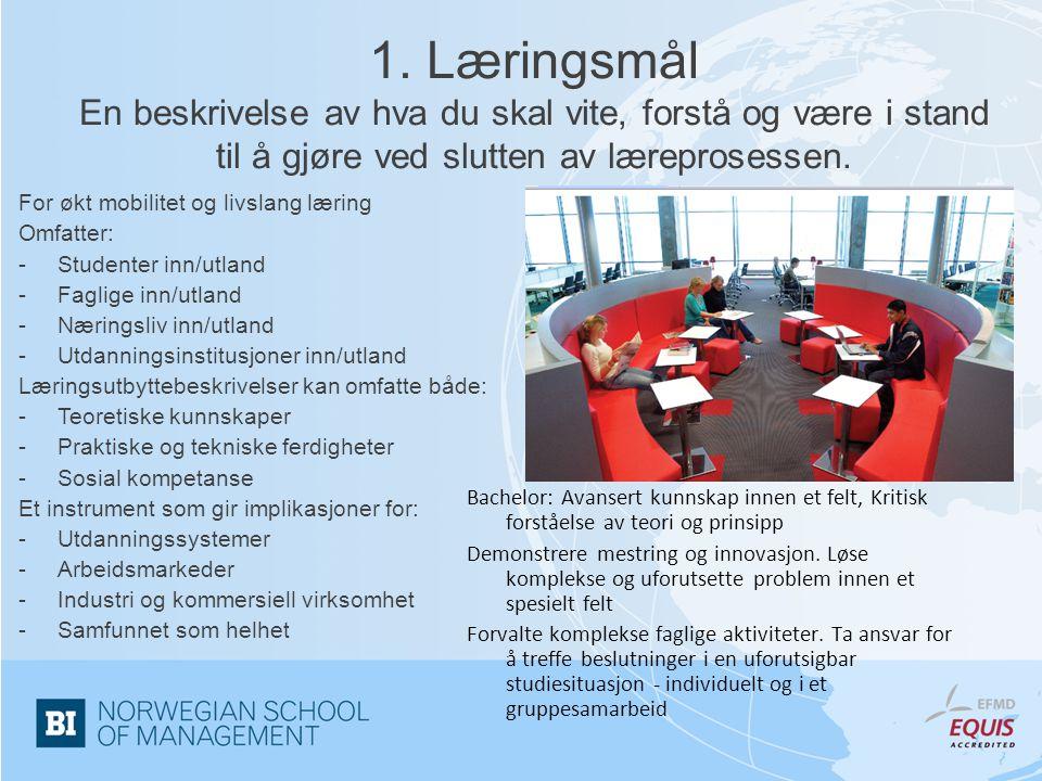 1. Læringsmål En beskrivelse av hva du skal vite, forstå og være i stand til å gjøre ved slutten av læreprosessen. For økt mobilitet og livslang lærin