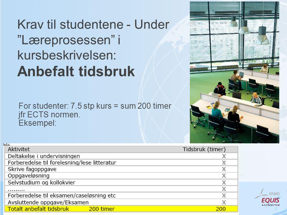 """Krav til studentene - Under """"Læreprosessen"""" i kursbeskrivelsen: Anbefalt tidsbruk For studenter: 7.5 stp kurs = sum 200 timer jfr ECTS normen. Eksempe"""