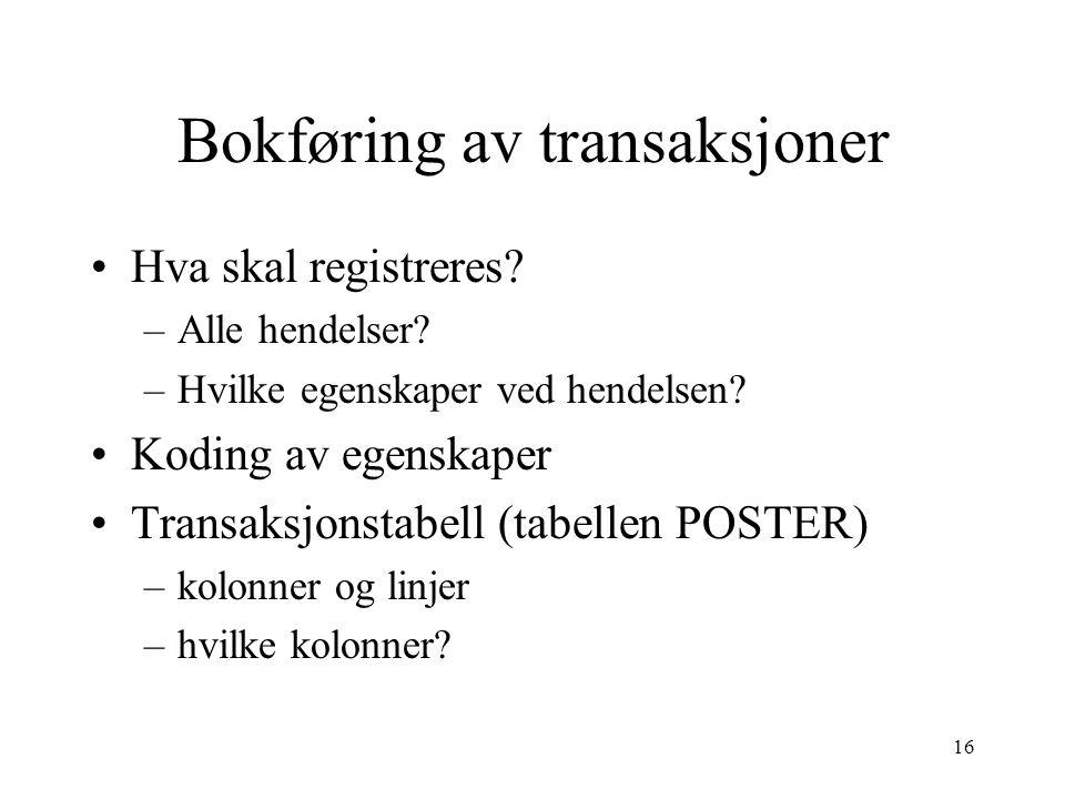 16 Bokføring av transaksjoner Hva skal registreres.
