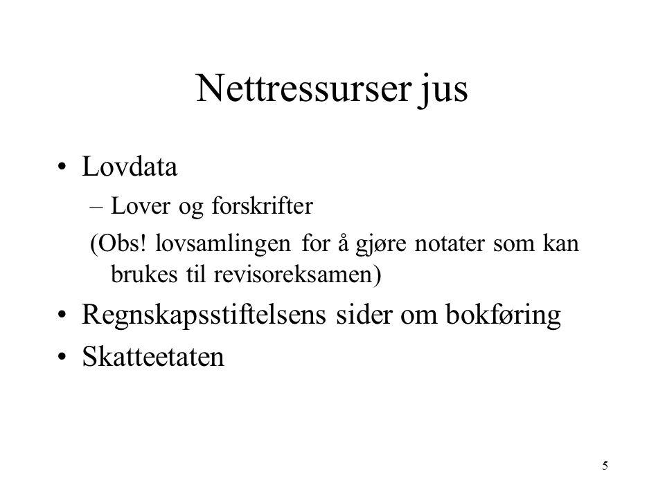 5 Nettressurser jus Lovdata –Lover og forskrifter (Obs.