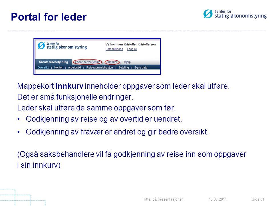 Tittel på presentasjonenSide 3113.07.2014 Portal for leder Mappekort Innkurv inneholder oppgaver som leder skal utføre. Det er små funksjonelle endrin