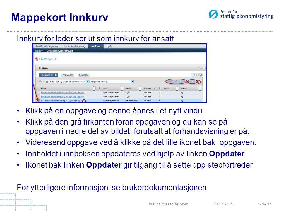 Tittel på presentasjonenSide 3213.07.2014 Mappekort Innkurv Innkurv for leder ser ut som innkurv for ansatt Klikk på en oppgave og denne åpnes i et ny