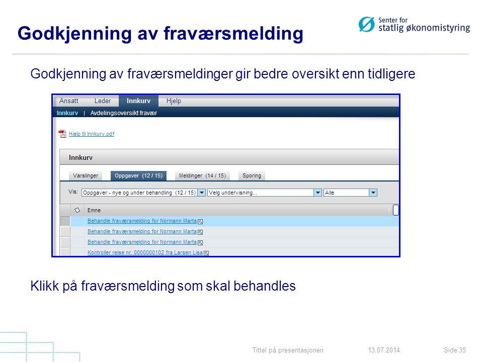 Tittel på presentasjonenSide 3513.07.2014 Godkjenning av fraværsmeldinger gir bedre oversikt enn tidligere Klikk på fraværsmelding som skal behandles