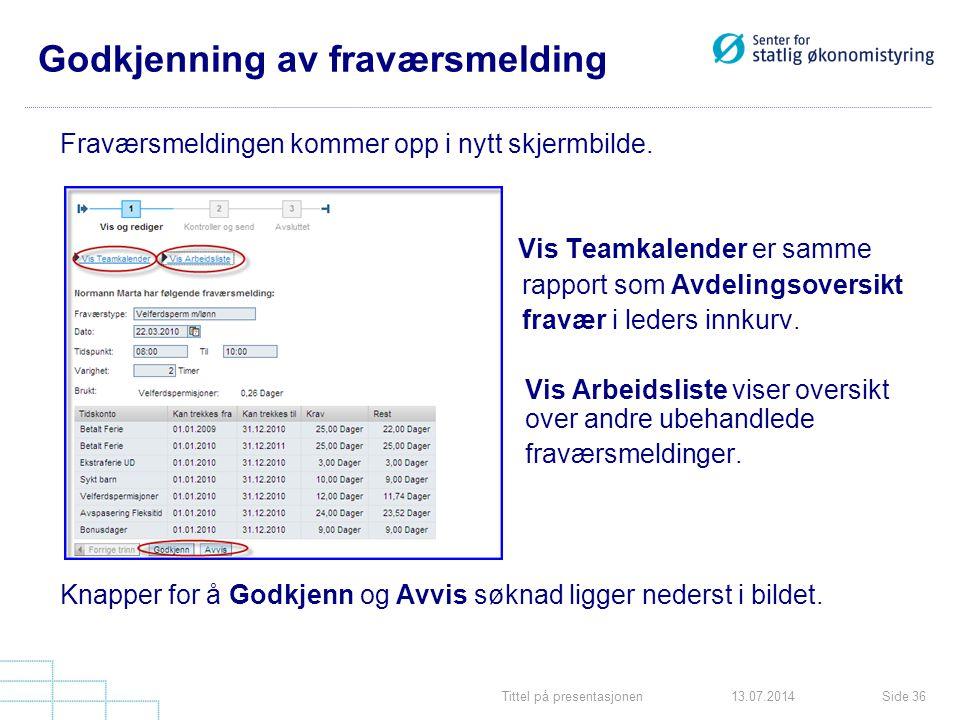 Tittel på presentasjonenSide 3613.07.2014 Godkjenning av fraværsmelding Fraværsmeldingen kommer opp i nytt skjermbilde. Vis Teamkalender er samme rapp