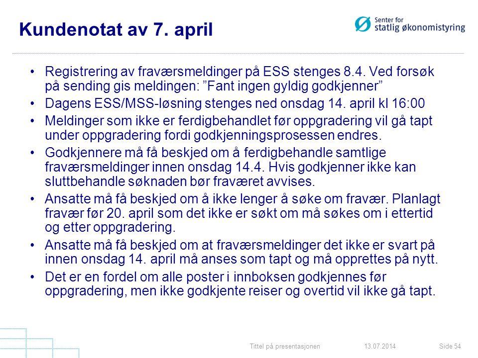 Tittel på presentasjonenSide 5413.07.2014 Kundenotat av 7. april Registrering av fraværsmeldinger på ESS stenges 8.4. Ved forsøk på sending gis meldin