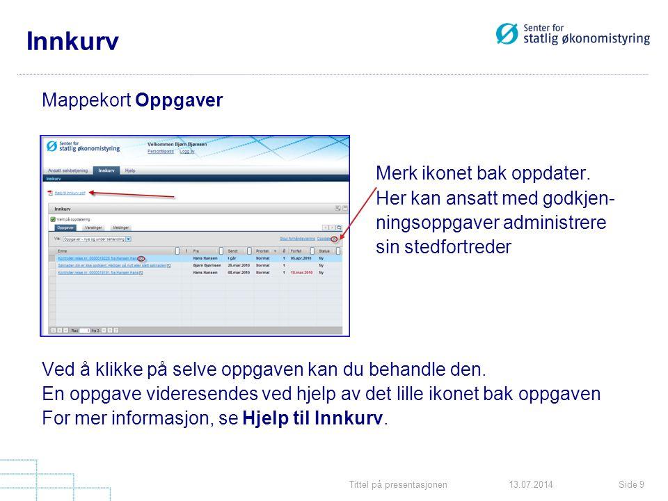 Tittel på presentasjonenSide 913.07.2014 Innkurv Mappekort Oppgaver Merk ikonet bak oppdater. Her kan ansatt med godkjen- ningsoppgaver administrere s