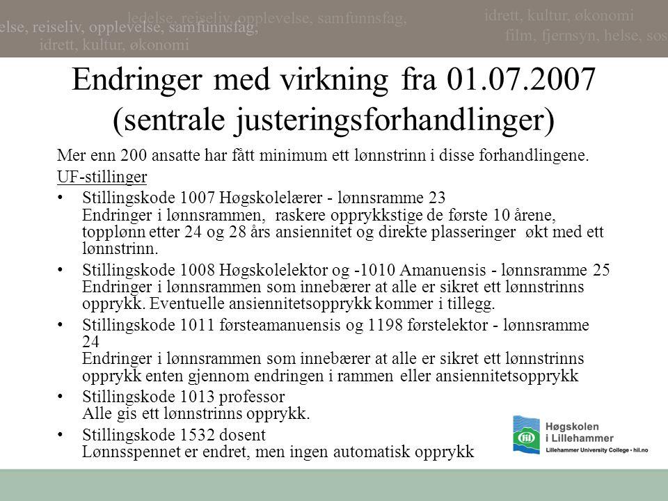 Endringer med virkning fra 01.07.2007 (sentrale justeringsforhandlinger) Mer enn 200 ansatte har fått minimum ett lønnstrinn i disse forhandlingene. U