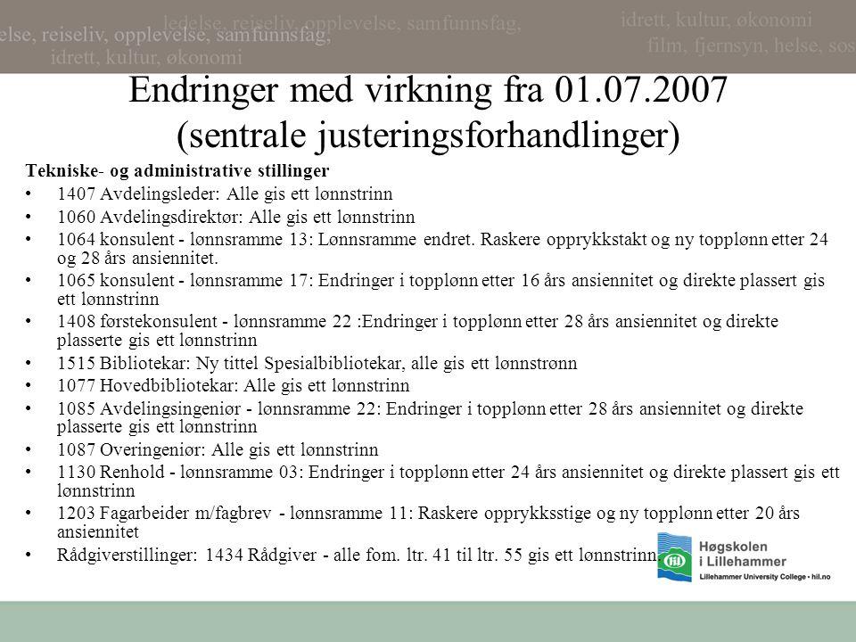 Endringer med virkning fra 01.07.2007 (sentrale justeringsforhandlinger) Tekniske- og administrative stillinger 1407 Avdelingsleder: Alle gis ett lønn