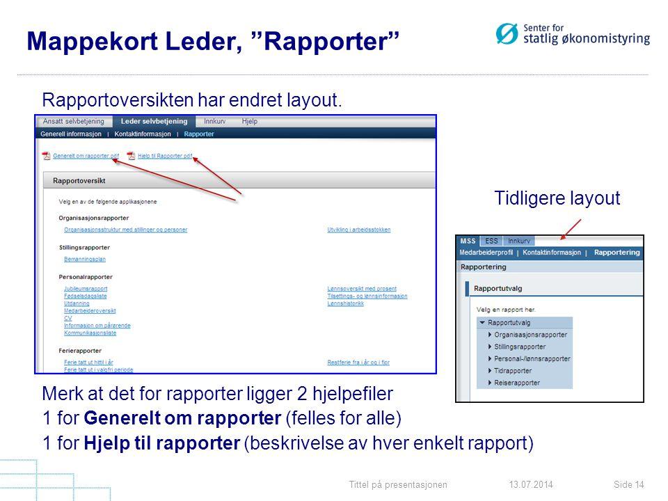 Tittel på presentasjonenSide 1413.07.2014 Mappekort Leder, Rapporter Rapportoversikten har endret layout.