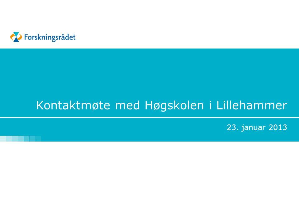 Kontaktmøte med Høgskolen i Lillehammer 23. januar 2013