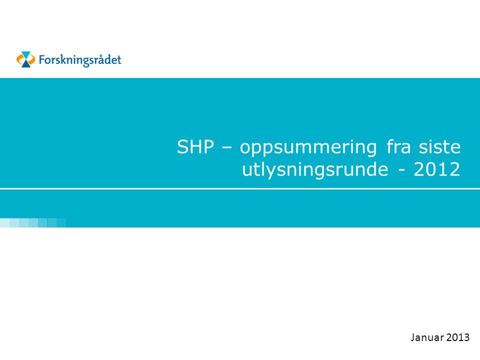 SHP – oppsummering fra siste utlysningsrunde - 2012 Januar 2013