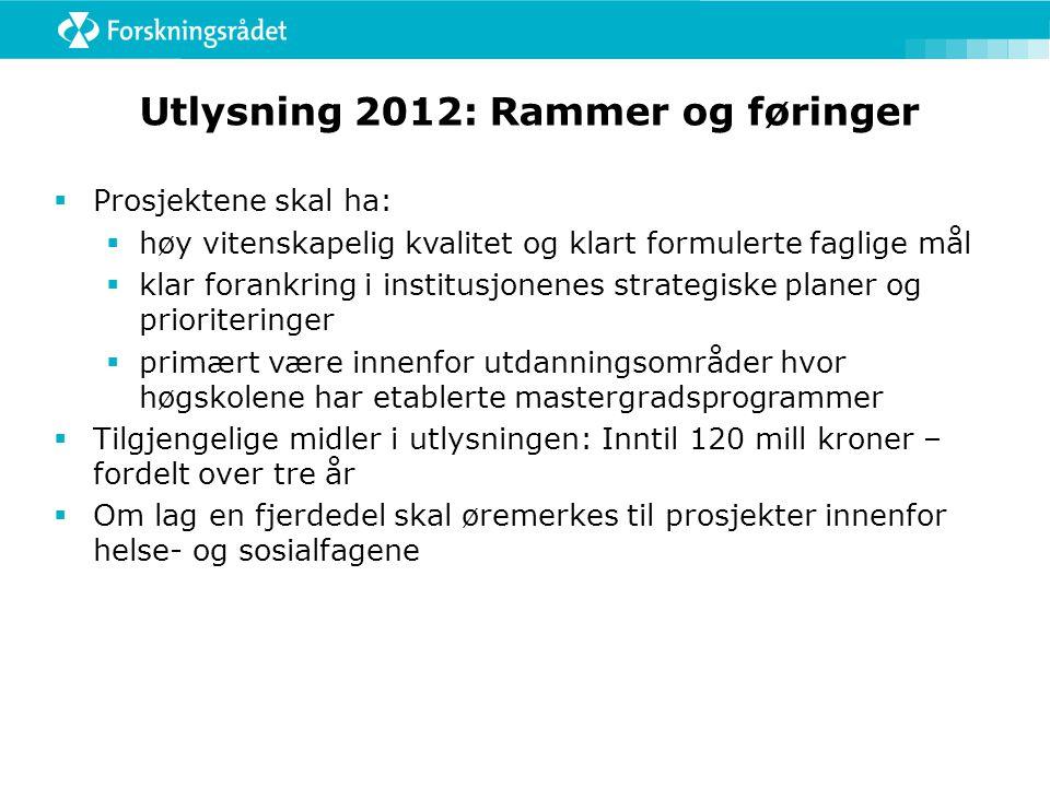Utlysning 2012: Rammer og føringer  Prosjektene skal ha:  høy vitenskapelig kvalitet og klart formulerte faglige mål  klar forankring i institusjon