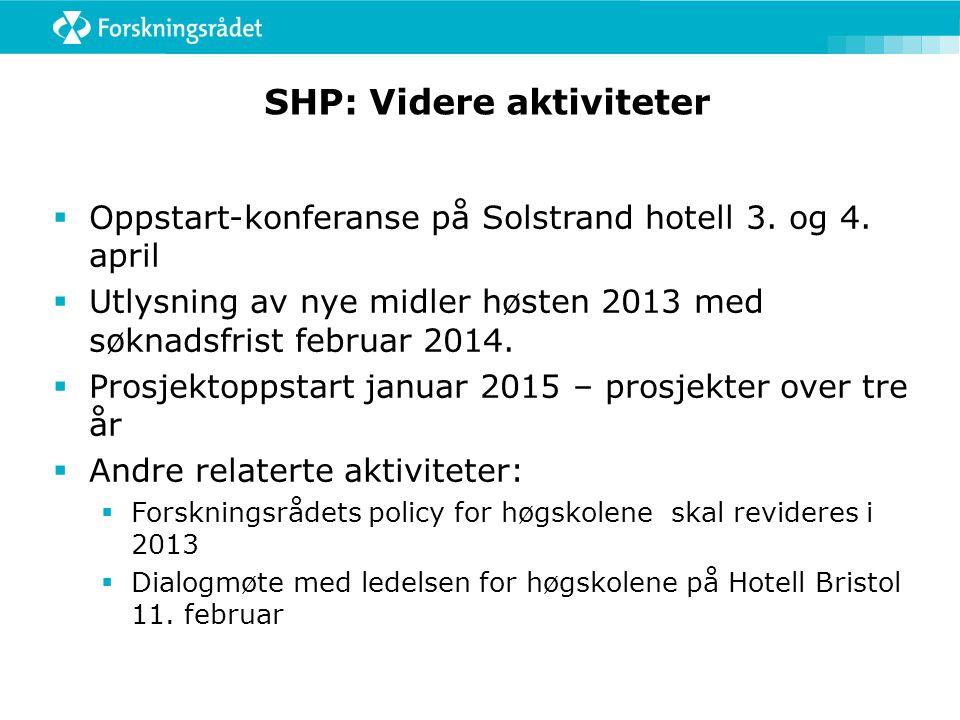 SHP: Videre aktiviteter  Oppstart-konferanse på Solstrand hotell 3. og 4. april  Utlysning av nye midler høsten 2013 med søknadsfrist februar 2014.