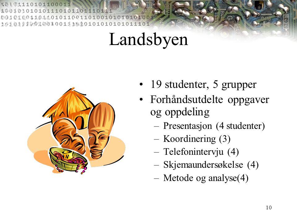 10 Landsbyen 19 studenter, 5 grupper Forhåndsutdelte oppgaver og oppdeling –Presentasjon (4 studenter) –Koordinering (3) –Telefonintervju (4) –Skjemau