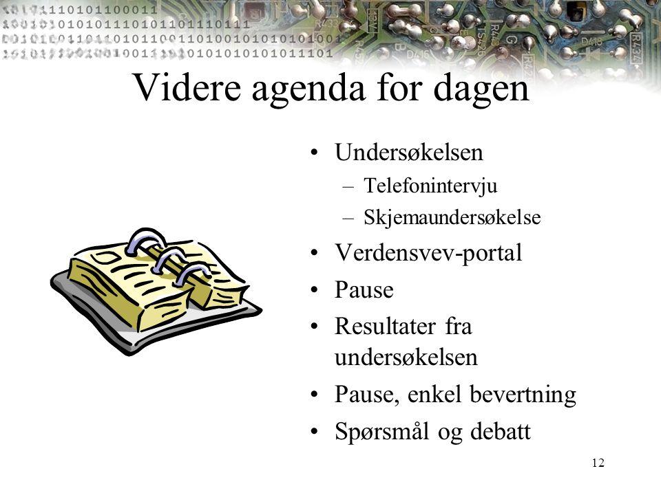 12 Videre agenda for dagen Undersøkelsen –Telefonintervju –Skjemaundersøkelse Verdensvev-portal Pause Resultater fra undersøkelsen Pause, enkel bevert