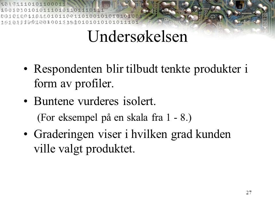 27 Undersøkelsen Respondenten blir tilbudt tenkte produkter i form av profiler. Buntene vurderes isolert. (For eksempel på en skala fra 1 - 8.) Grader