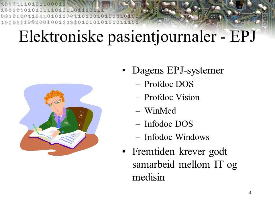 4 Elektroniske pasientjournaler - EPJ Dagens EPJ-systemer –Profdoc DOS –Profdoc Vision –WinMed –Infodoc DOS –Infodoc Windows Fremtiden krever godt sam
