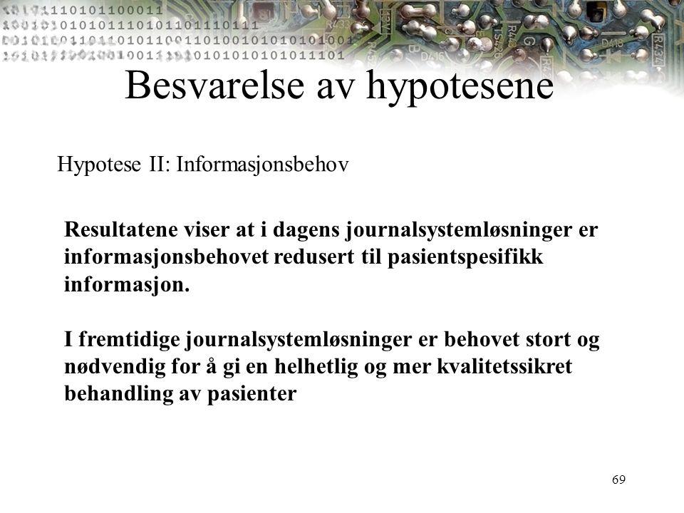 69 Besvarelse av hypotesene Hypotese II: Informasjonsbehov Resultatene viser at i dagens journalsystemløsninger er informasjonsbehovet redusert til pa