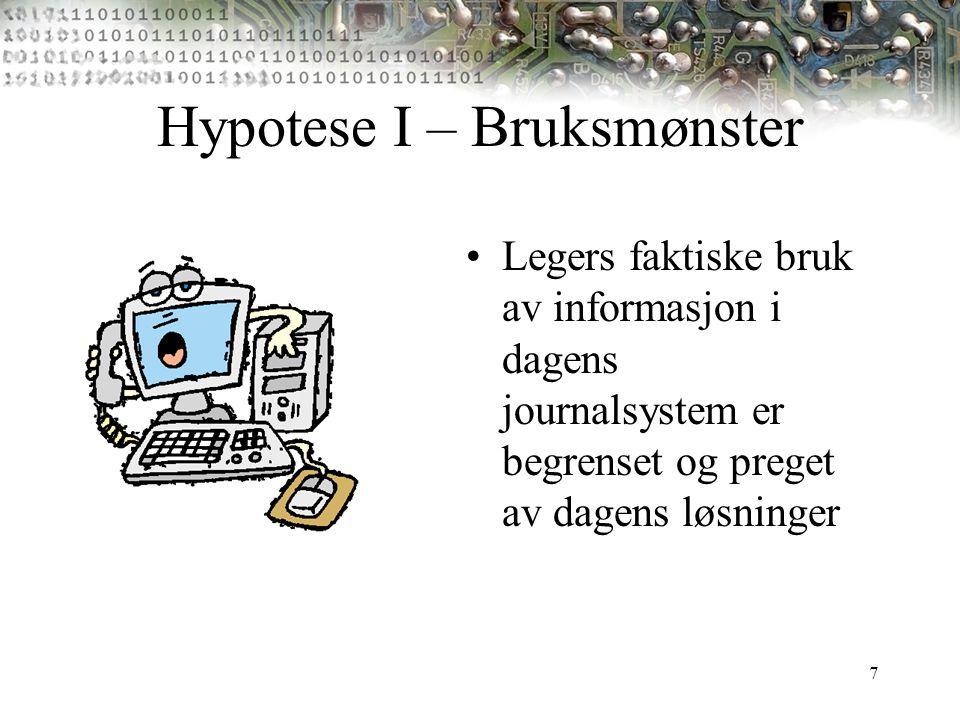 7 Hypotese I – Bruksmønster Legers faktiske bruk av informasjon i dagens journalsystem er begrenset og preget av dagens løsninger