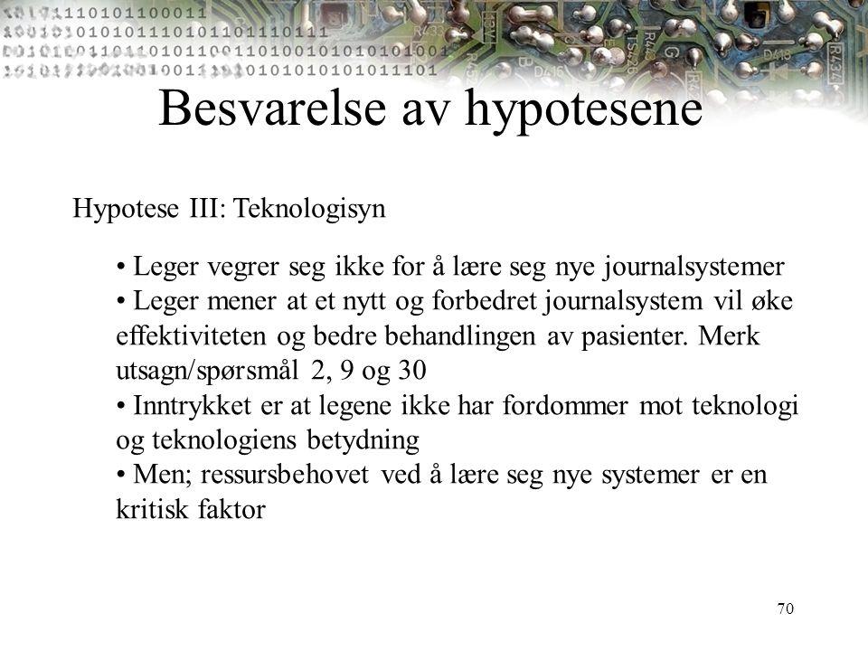 70 Besvarelse av hypotesene Hypotese III: Teknologisyn Leger vegrer seg ikke for å lære seg nye journalsystemer Leger mener at et nytt og forbedret jo