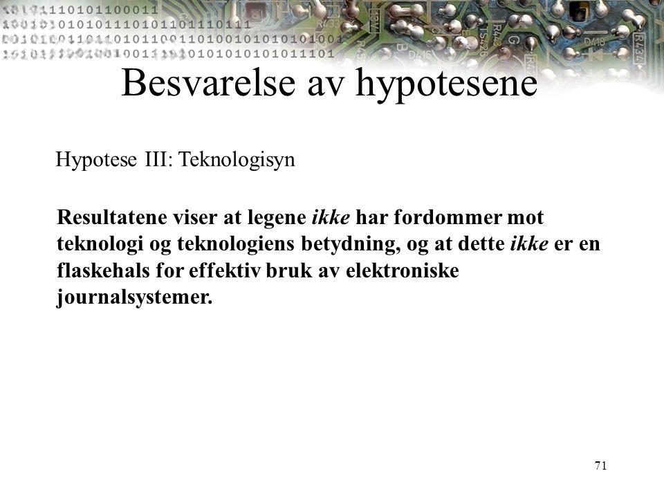 71 Besvarelse av hypotesene Hypotese III: Teknologisyn Resultatene viser at legene ikke har fordommer mot teknologi og teknologiens betydning, og at d