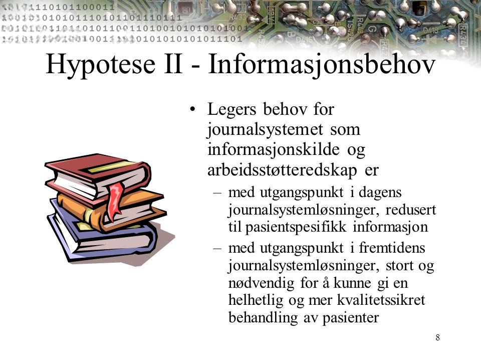 8 Hypotese II - Informasjonsbehov Legers behov for journalsystemet som informasjonskilde og arbeidsstøtteredskap er –med utgangspunkt i dagens journal