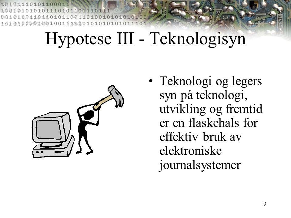 9 Hypotese III - Teknologisyn Teknologi og legers syn på teknologi, utvikling og fremtid er en flaskehals for effektiv bruk av elektroniske journalsys