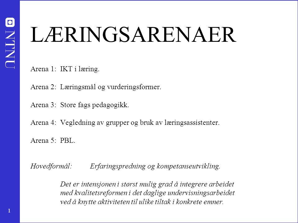 1 LÆRINGSARENAER Arena 1:IKT i læring. Arena 2:Læringsmål og vurderingsformer. Arena 3:Store fags pedagogikk. Arena 4:Vegledning av grupper og bruk av